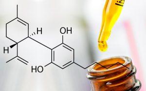 Olej CBD oraz wzór chemiczny kannabidiolu CBD